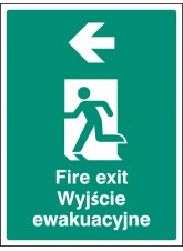 Fire Exit Arrow - Left (English/polish)