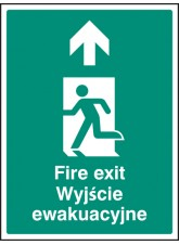 Fire Exit Arrow - Up / Straight on (English/polish)