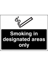 Smoking in Designated Areas Only (white/black)