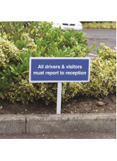 All Drivers & Visitors Must Report to Reception - White Powder Coated Aluminium - 450 x 150mm (800mm Post)
