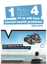 Let's change the way we think and act about mental health poster