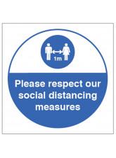 Respect Social Distancing Sticker - 1m / 2m / Generic Distance Options